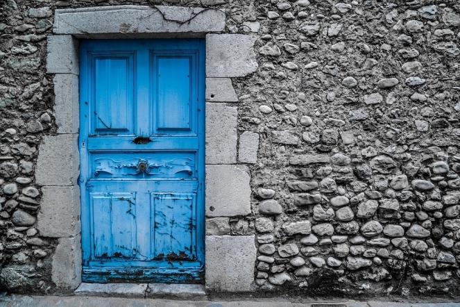 Vintage Paint Old Architecture Blue Door Street
