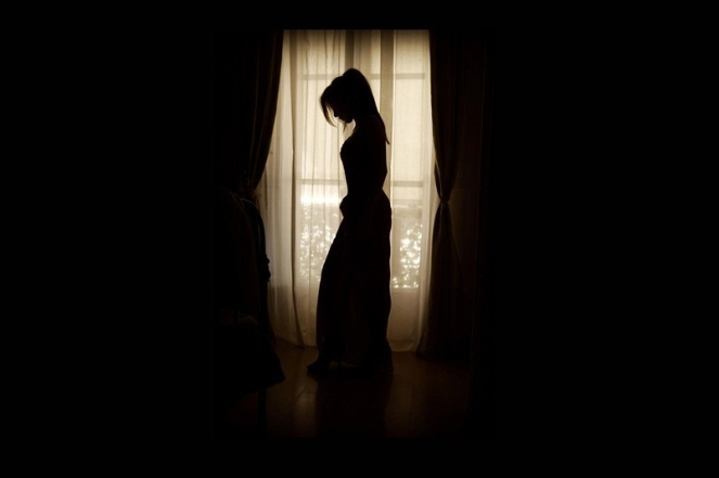Woman Scene Standing Window Silhouette Posed